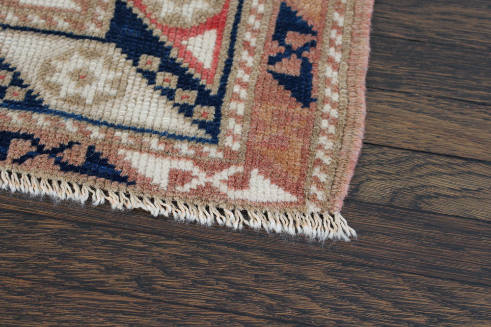 Beige And Blue Patterned Vintage Fay + Belle Rug Angle 4