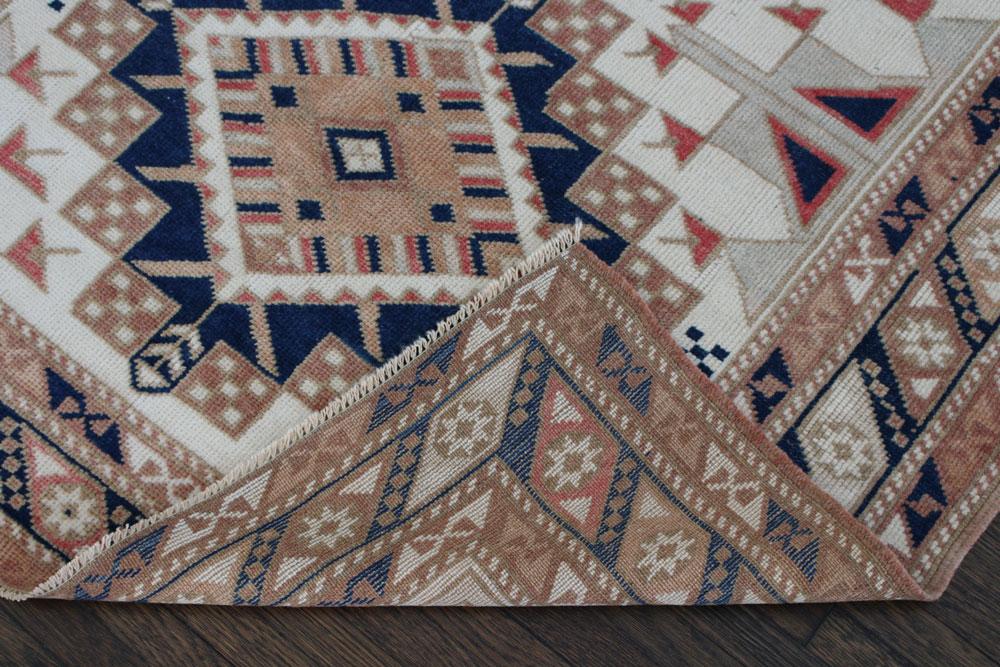 Beige And Blue Patterned Vintage Fay + Belle Rug Angle 5