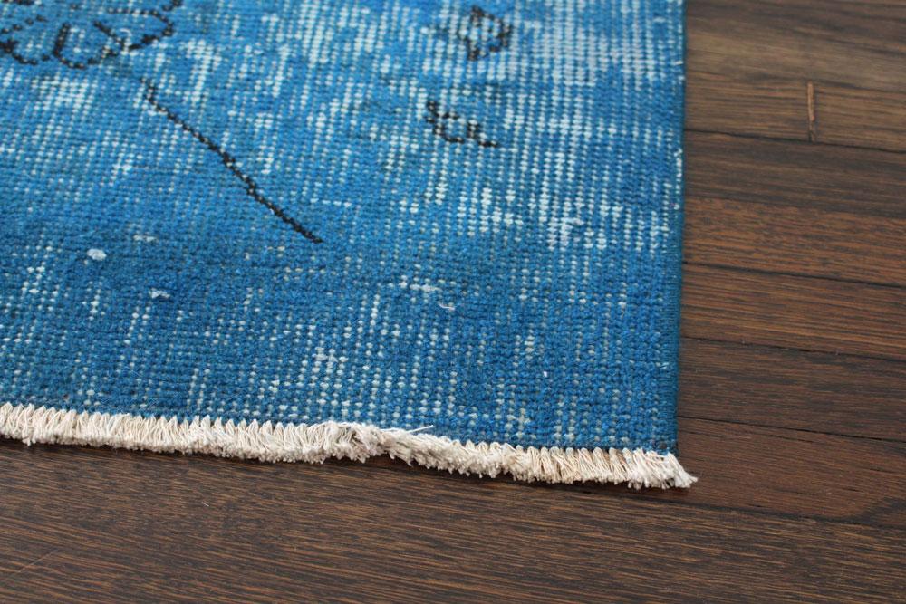 Blue Patterned Vintage Turkish Area Rug Angle 1