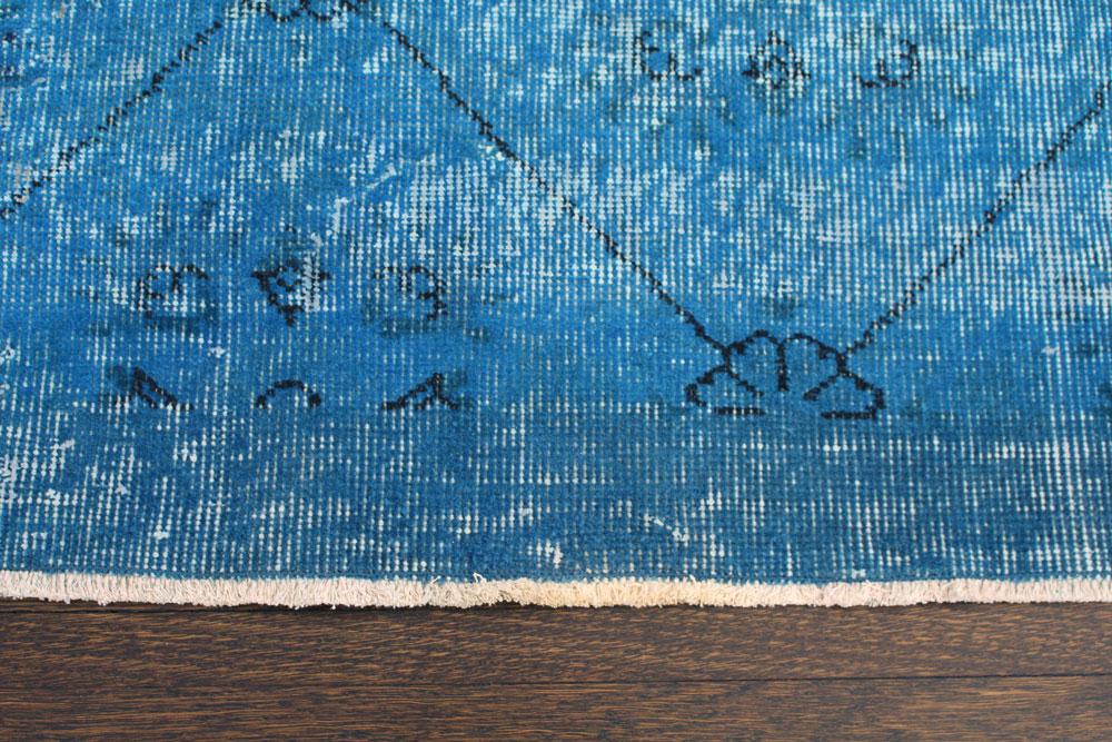 Blue Patterned Vintage Turkish Area Rug Angle 2