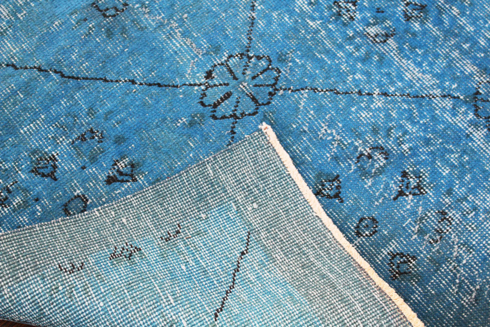 Blue Patterned Vintage Turkish Area Rug Angle 5