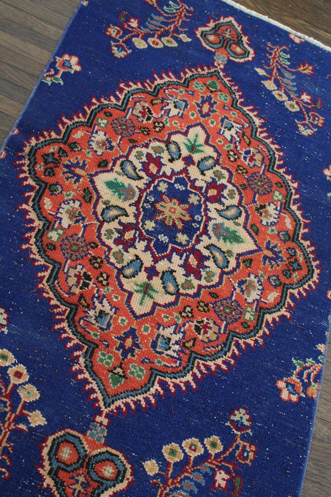 Blue And Orange Patterned Vintage Turkish Rug Angle 1