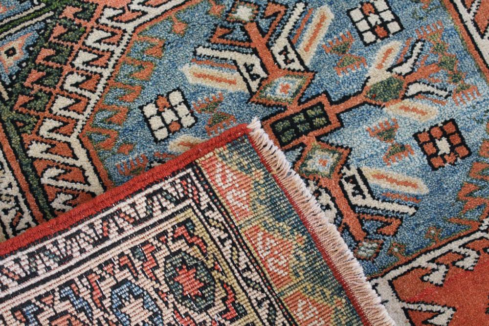 Blue And Orange Patterned Vintage Turkish Rug Angle 5