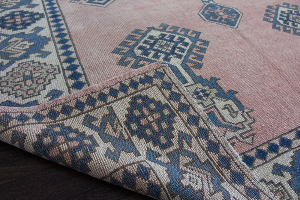 Blue And Peach Patterned Vintage Turkish Area Rug Angle 5