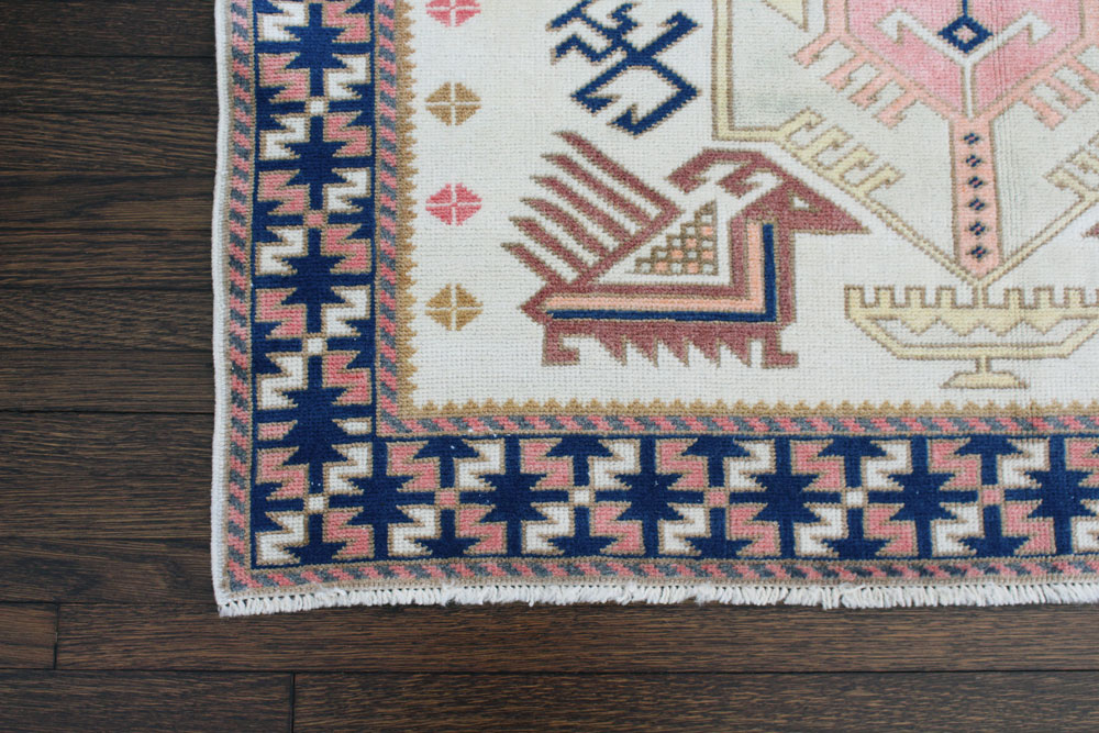 Blue And Pink Patterned Fay + Belle Area Rug Angle 1