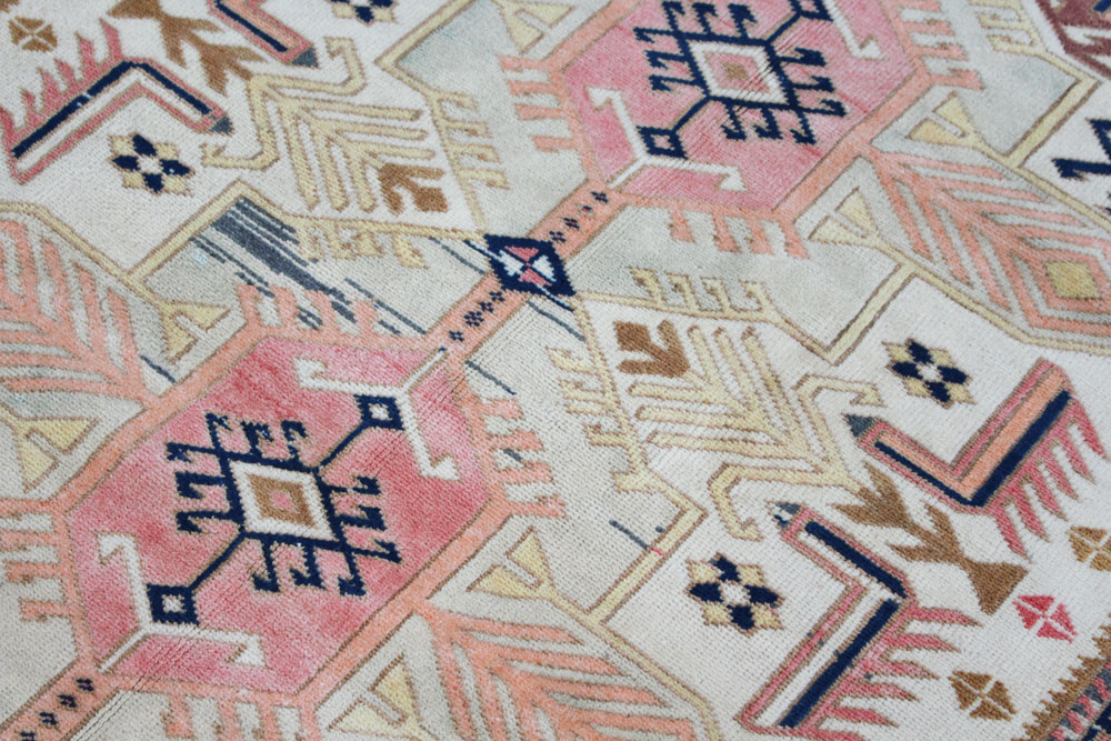 Blue And Pink Patterned Fay + Belle Area Rug Angle 2