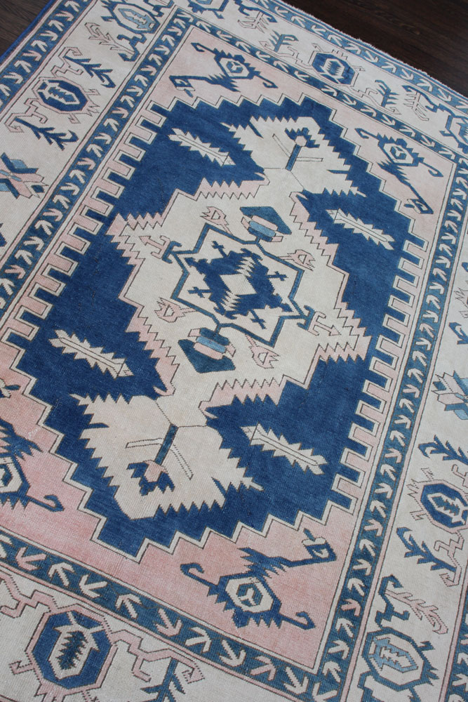 Blue And White Patterned Vintage Turkish Area Rug Angle 1