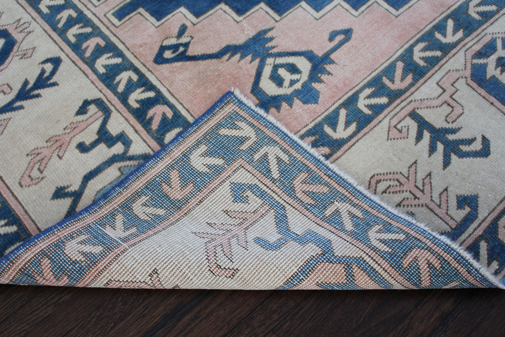Blue And White Patterned Vintage Turkish Area Rug Angle 2