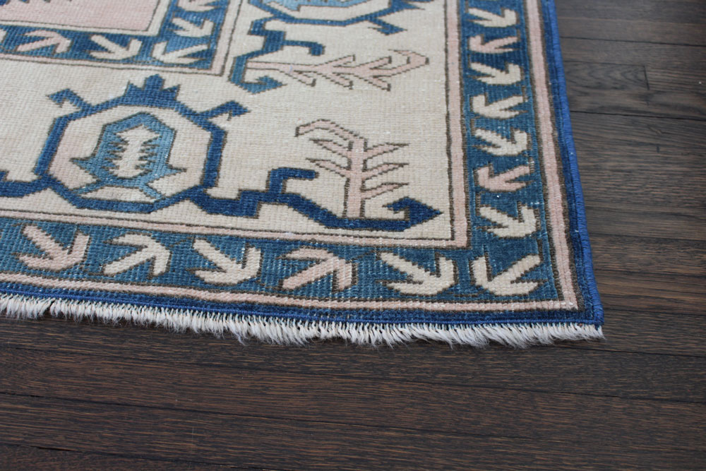 Blue And White Patterned Vintage Turkish Area Rug Angle 3