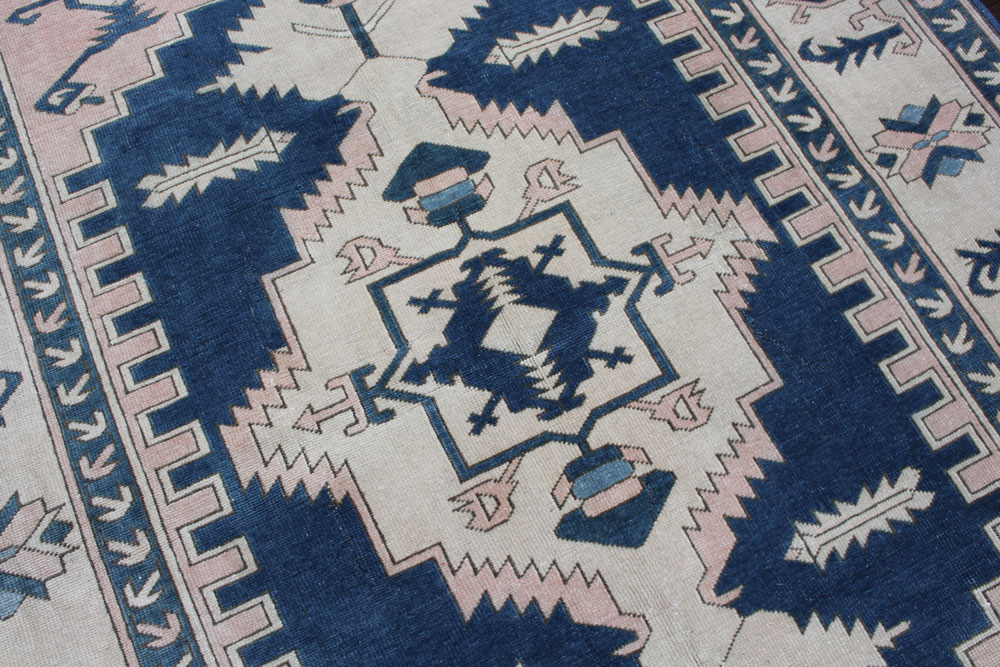 Blue And White Patterned Vintage Turkish Area Rug Angle 5