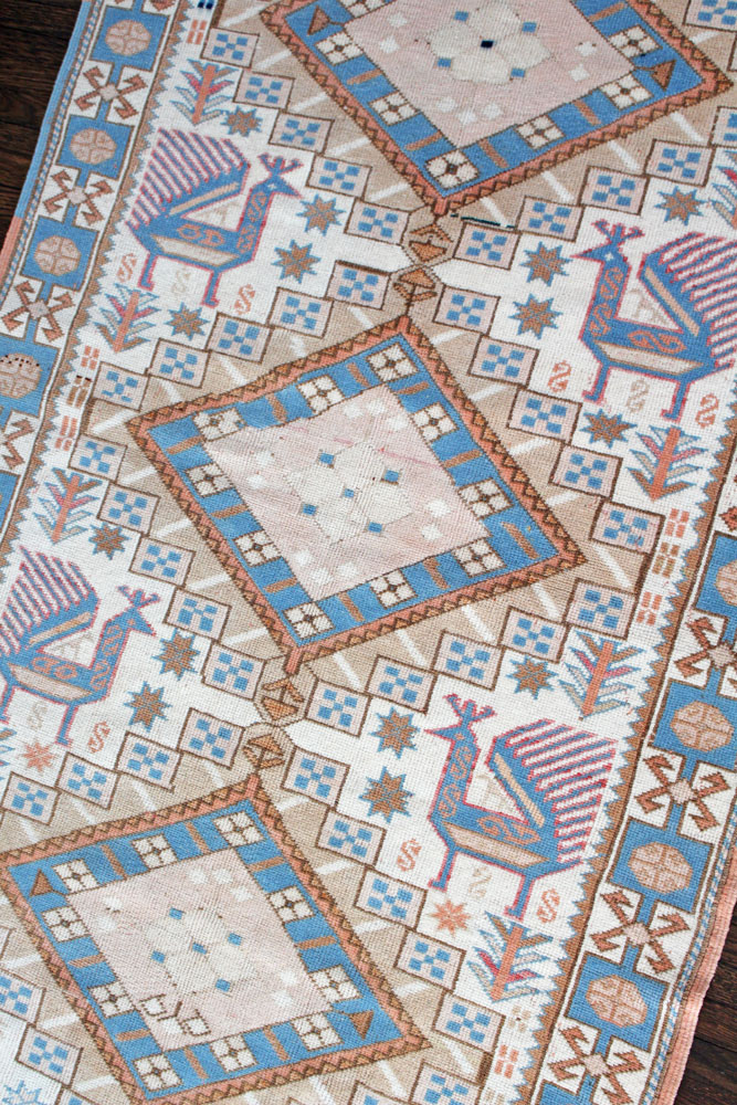 Blue And White Patterned Vintage Turkish Rug Angle 1