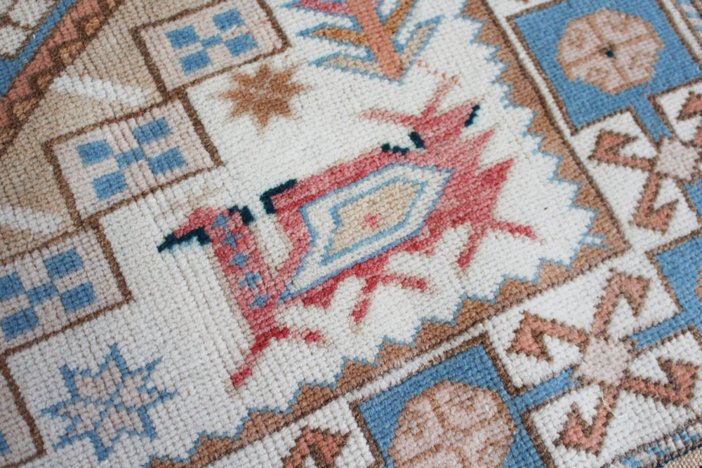 Blue And White Patterned Vintage Turkish Rug Angle 2
