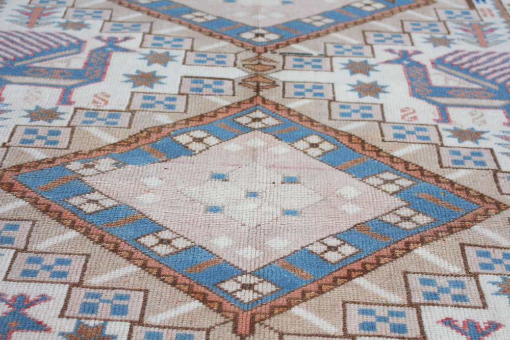 Blue And White Patterned Vintage Turkish Rug Angle 3