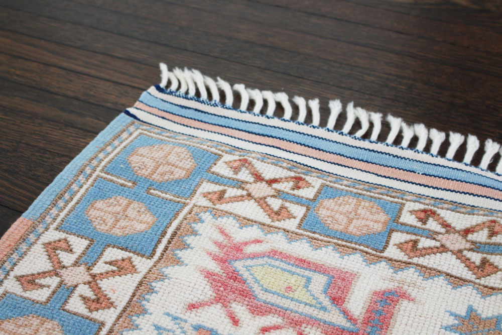 Blue And White Patterned Vintage Turkish Rug Angle 4