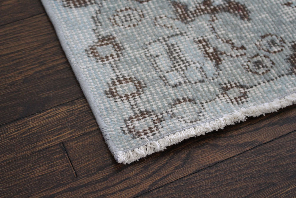 Gray Patterned Vintage Turkish Area Rug Angle 2