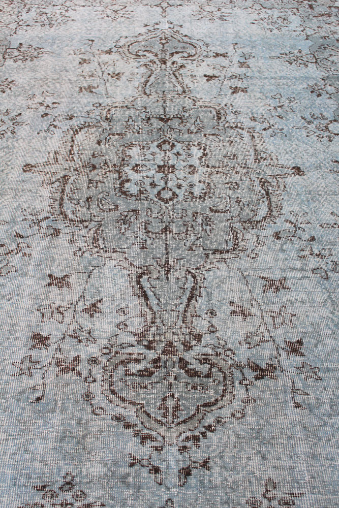 Gray Patterned Vintage Turkish Area Rug Angle 3