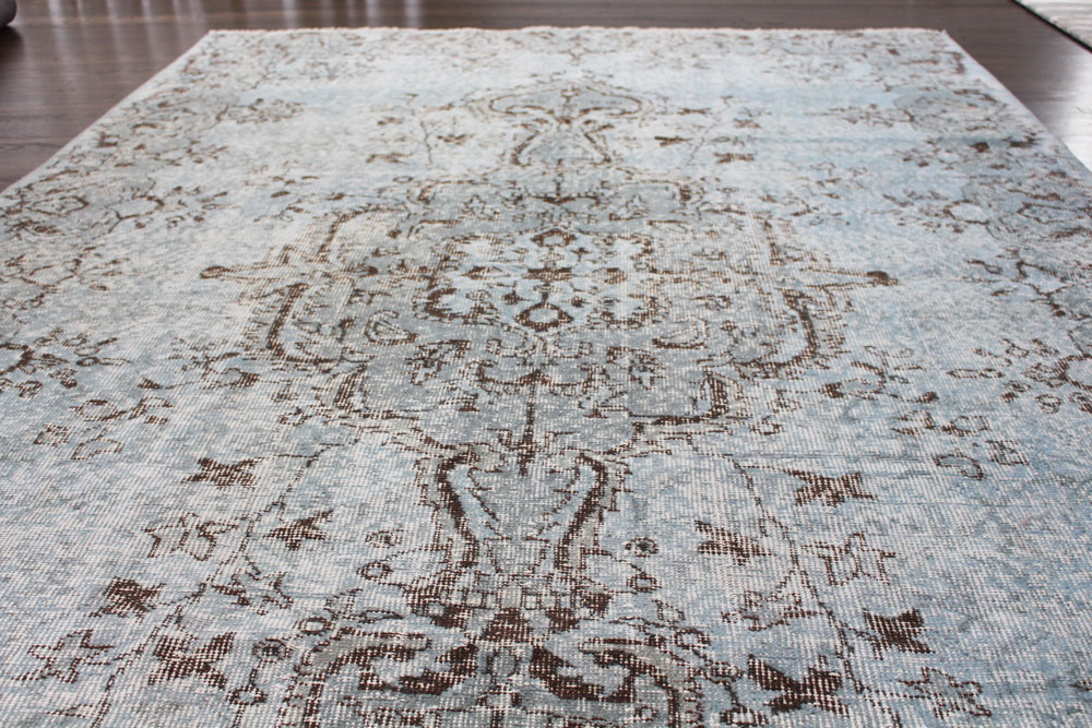 Gray Patterned Vintage Turkish Area Rug Angle 4