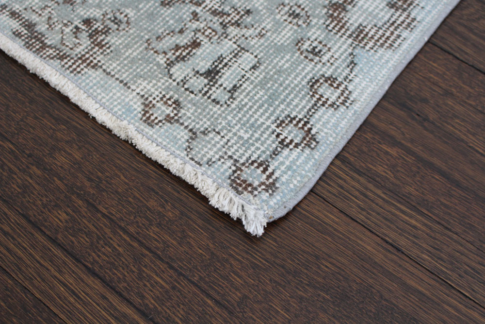 Gray Patterned Vintage Turkish Area Rug Angle 5