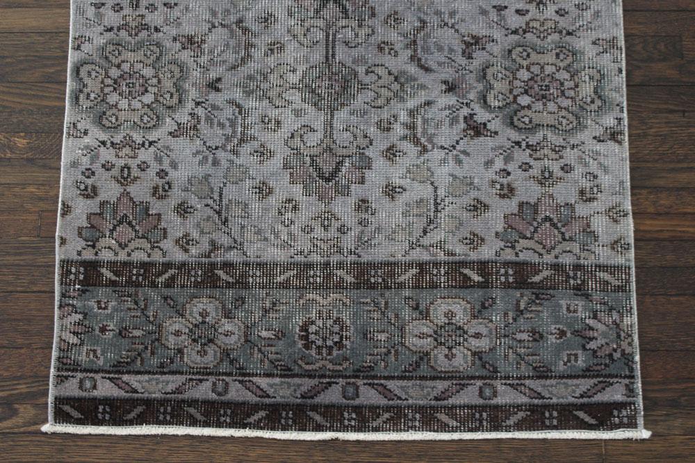 Gray Patterned Vintage Turkish Runner Angle 1