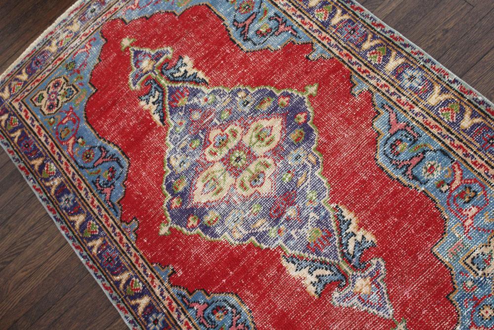 Multicolor Patterned Vintage Turkish Area Rug Angle 1