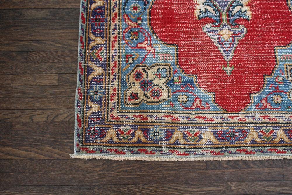 Multicolor Patterned Vintage Turkish Area Rug Angle 3