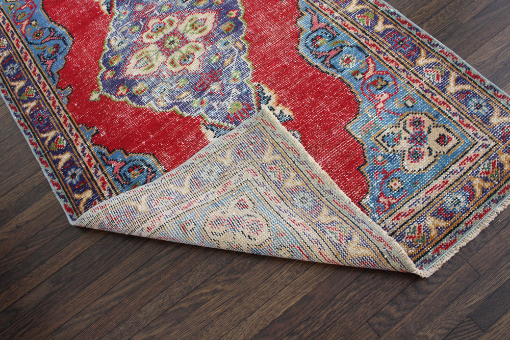 Multicolor Patterned Vintage Turkish Area Rug Angle 4