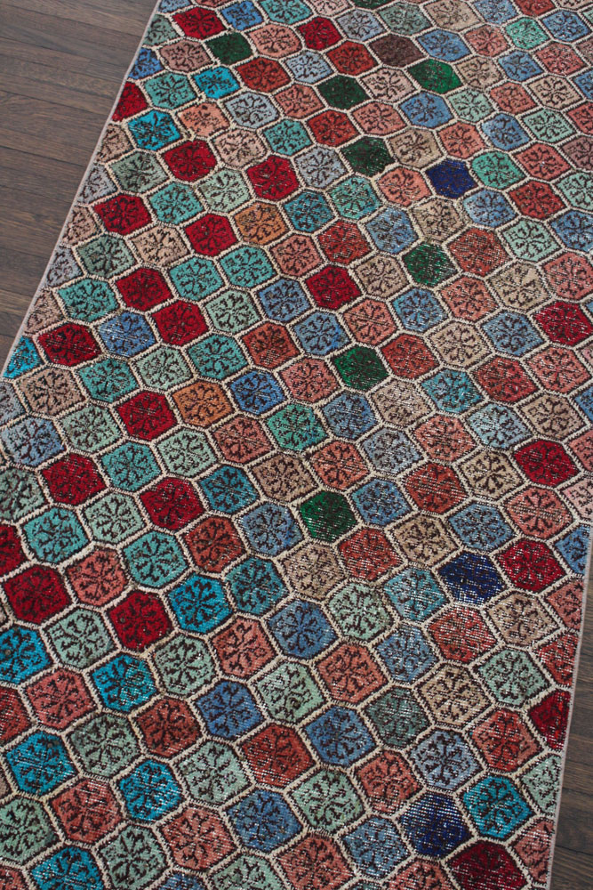 Multicolor Patterned Vintage Turkish Runner Angle 1