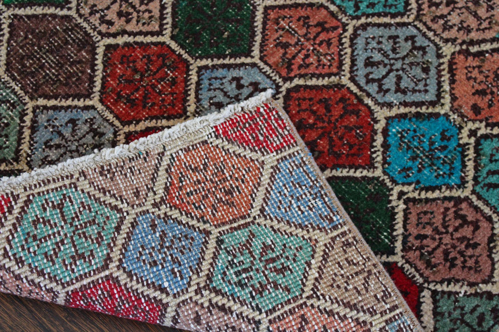 Multicolor Patterned Vintage Turkish Runner Angle 2