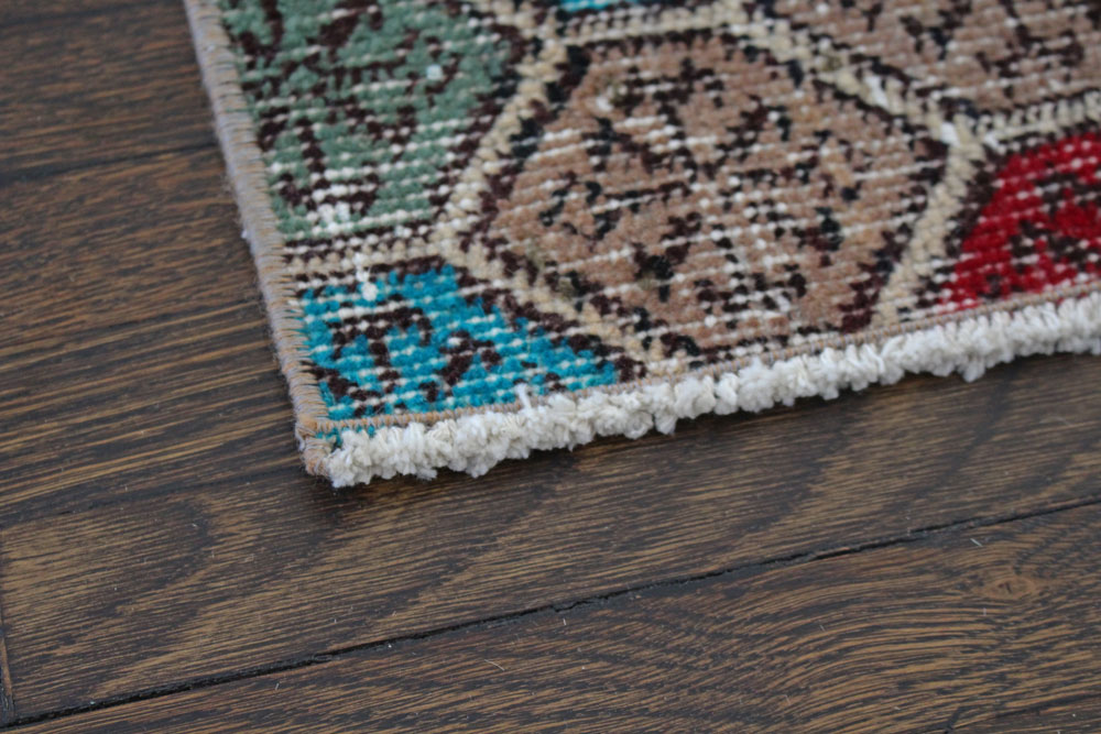 Multicolor Patterned Vintage Turkish Runner Angle 3