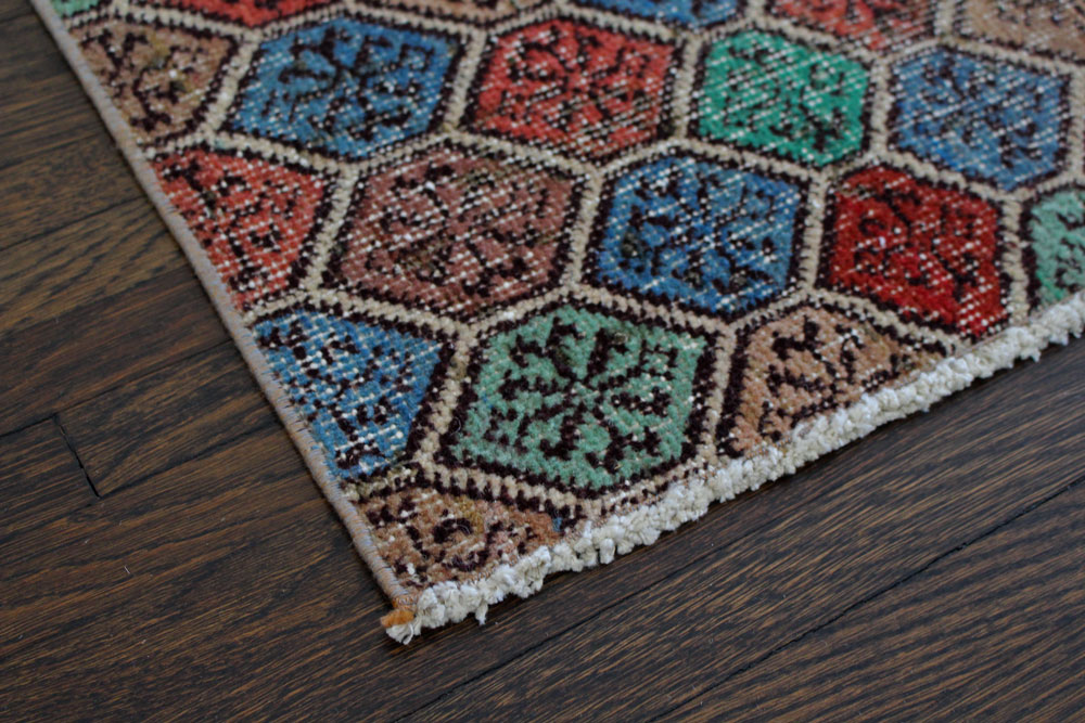 Multicolor Patterned Vintage Turkish Runner Angle 4