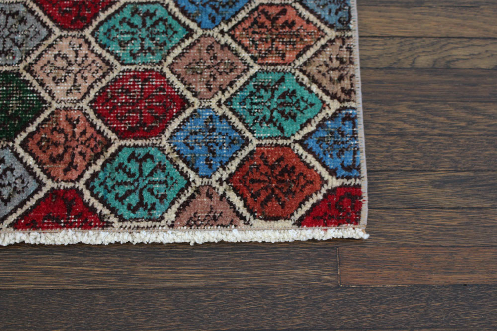 Multicolor Patterned Vintage Turkish Runner Angle 5