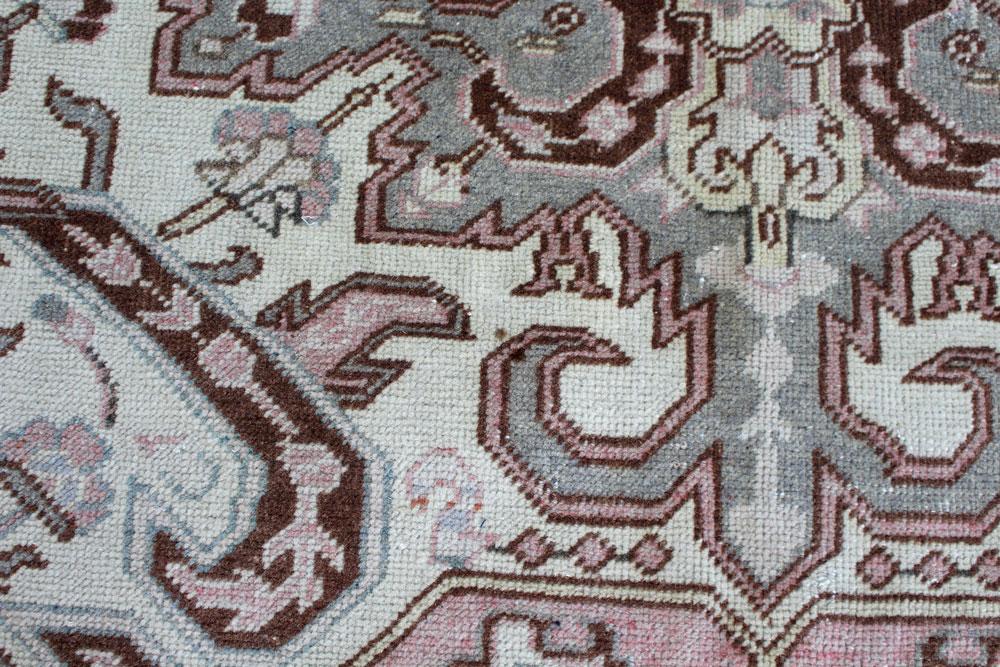 Pink And Mauve Patterned Vintage Turkish Area Rug Angle 5