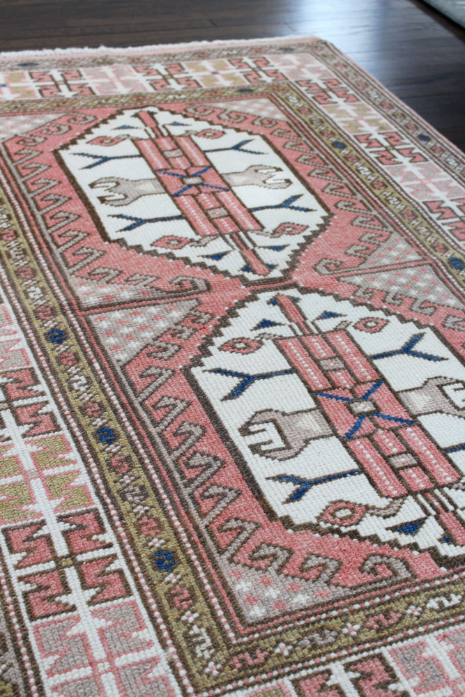 Pink And White Patterned Vintage Turkish Rug Angle 2