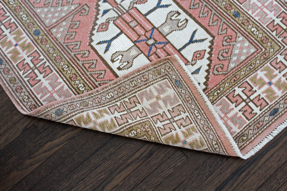 Pink And White Patterned Vintage Turkish Rug Angle 5