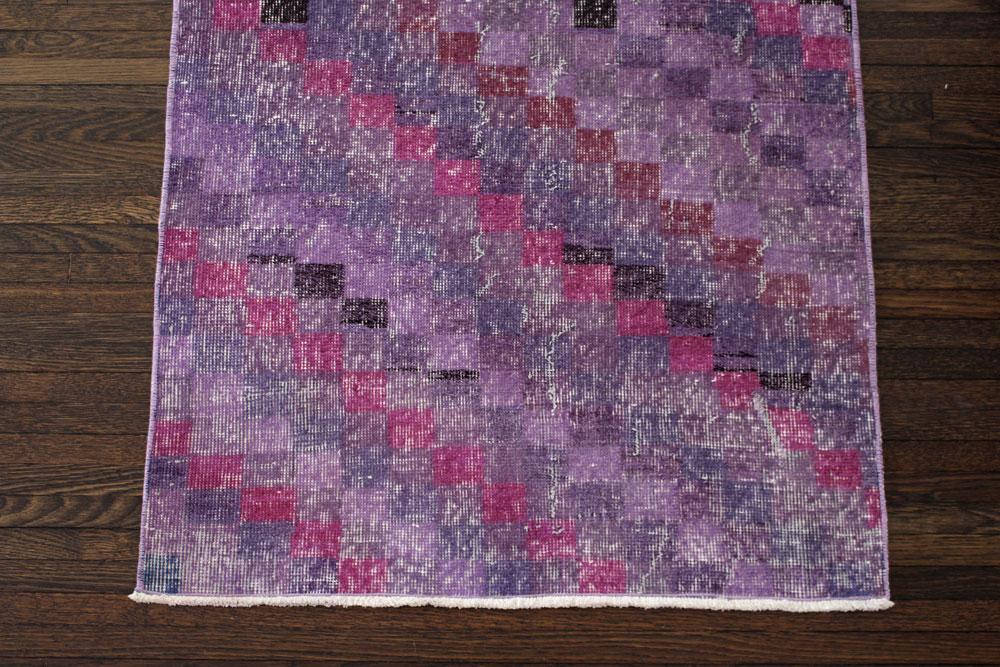 Purple Multicolor Patterned Vintage Turkish Runner Angle 1