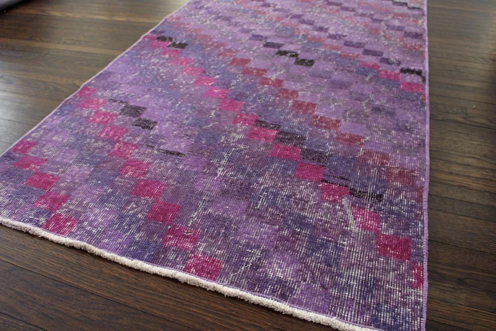 Purple Multicolor Patterned Vintage Turkish Runner Angle 3