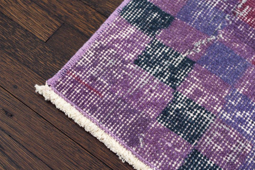 Purple Multicolor Patterned Vintage Turkish Runner Angle 5