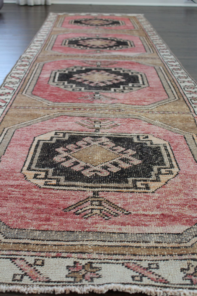 Red Black And Brown Patterned Vintage Turkish Runner Angle 1
