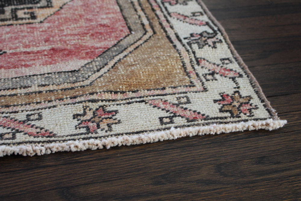 Red Black And Brown Patterned Vintage Turkish Runner Angle 2