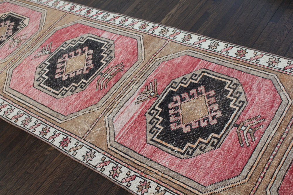 Red Black And Brown Patterned Vintage Turkish Runner Angle 3