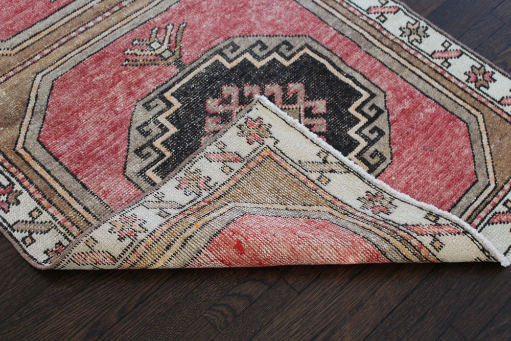 Red Black And Brown Patterned Vintage Turkish Runner Angle 4