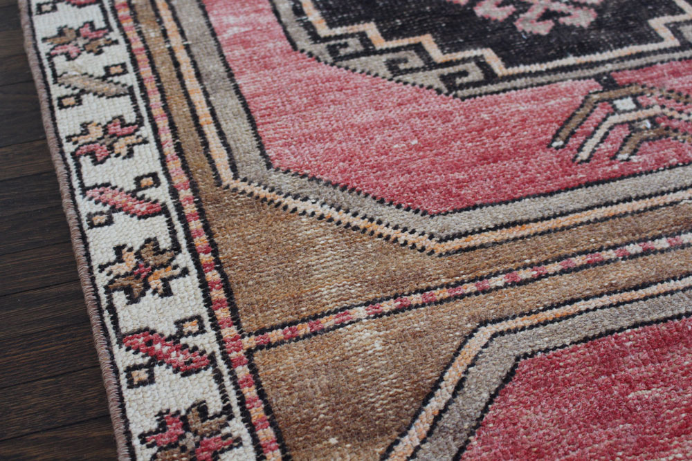 Red Black And Brown Patterned Vintage Turkish Runner Angle 5