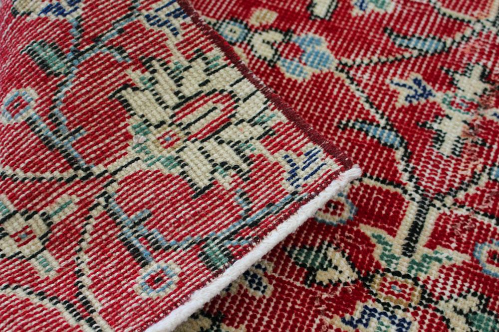 Red Patterned Vintage Turkish Runner Angle 2