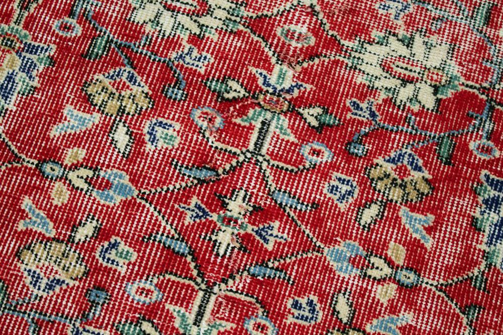 Red Patterned Vintage Turkish Runner Angle 4