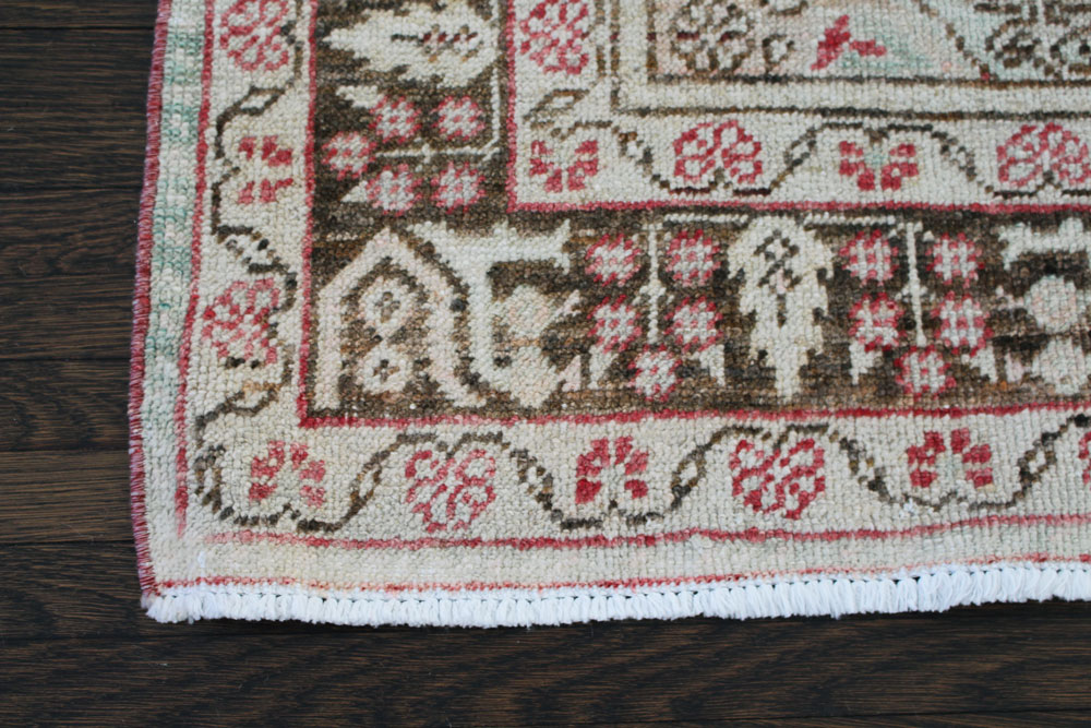 Red And Brown Patterned Vintage Turkish Area Rug Angle 2