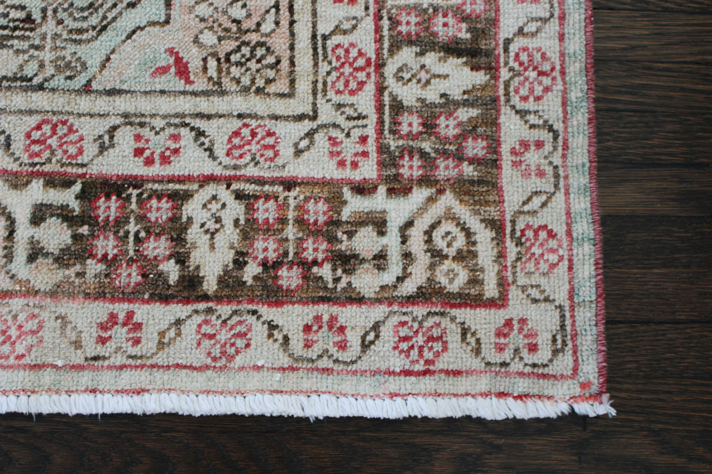 Red And Brown Patterned Vintage Turkish Area Rug Angle 3