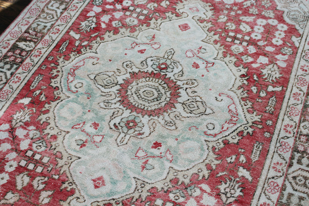 Red And Brown Patterned Vintage Turkish Area Rug Angle 4