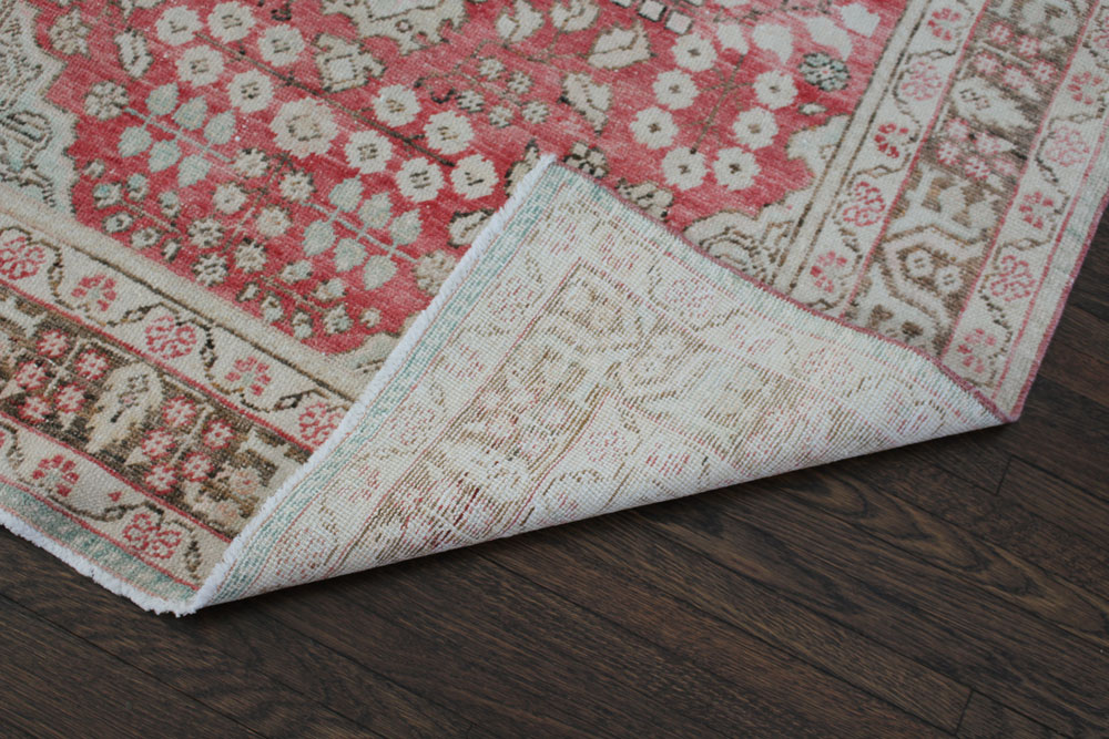 Red And Brown Patterned Vintage Turkish Area Rug Angle 5