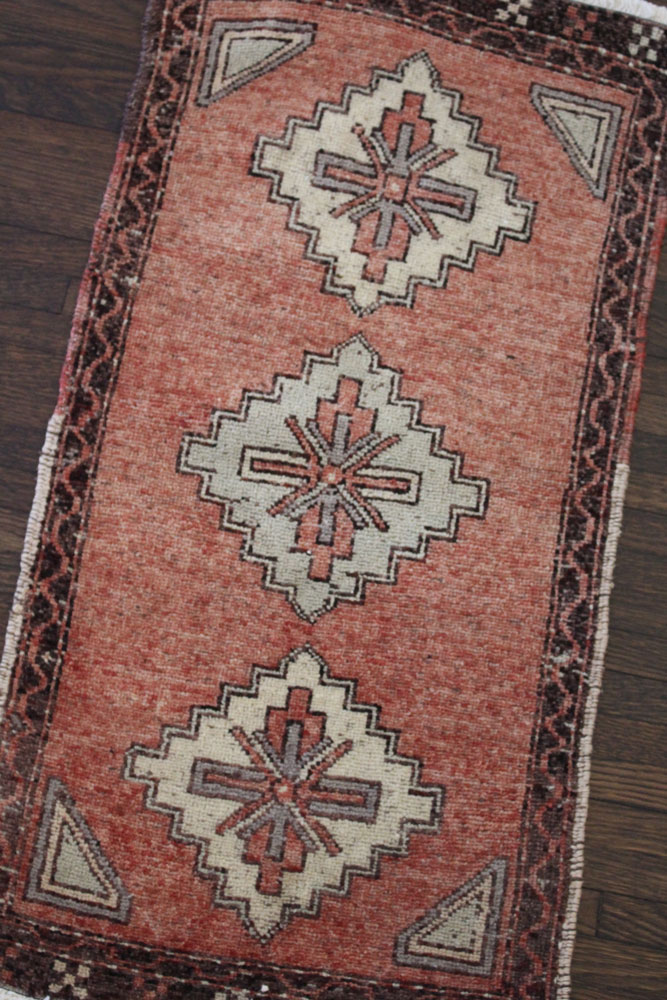 Red And Brown Patterned Vintage Turkish Scatter Rug Angle 1