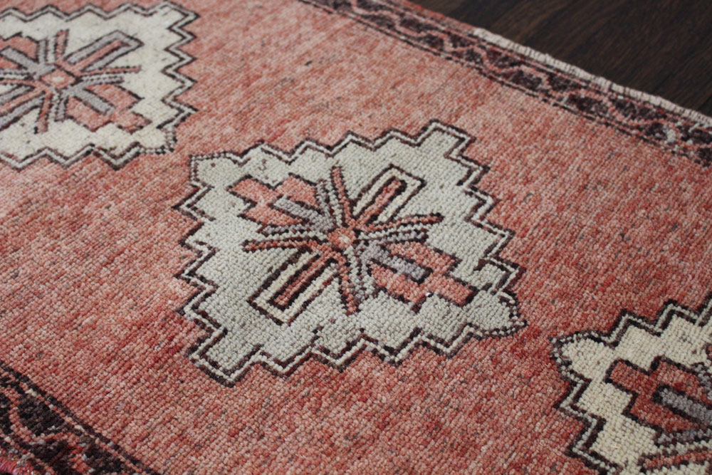 Red And Brown Patterned Vintage Turkish Scatter Rug Angle 2